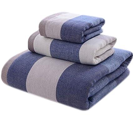 Juego de baño de Toalla de algodón a Cuadros Juego de Tres Piezas Suave y Absorbente