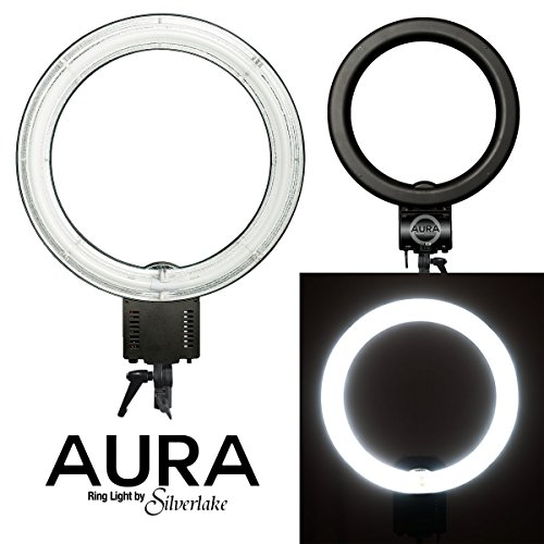 AURA Ring Light - Large, 19-Inch, 55W Soft Fluorescent Ring Light for Pro Studio Lighting - Shadowless Studio Lighting for Videos, Still Photography, Products, YouTube Videos, Portraits & More by Silverlake Photo Accessories