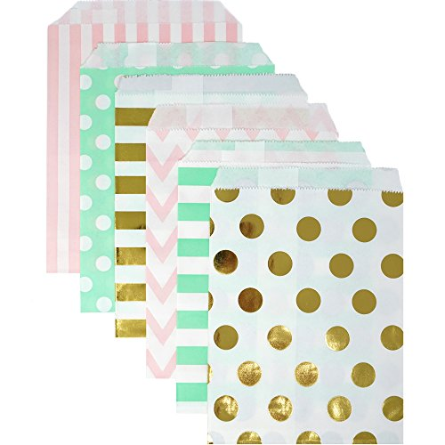 Food Safe Biodegradable Paper Candy Favor & Treat Bags for All Parties - 48 Count Assorted, 7x5 Size - by Chloe Elizabeth (Pink, Mint, Gold Foil)
