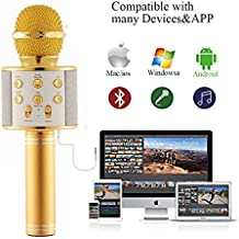 G.O.G [ High End ] karaoke microphone wireless Bluetooth speaker pair WS858 with smartphones,tablets,pcs -Great for parties, Cinco de Mayo, Mother's Day, etc..[singing fun for all ages] GOLD