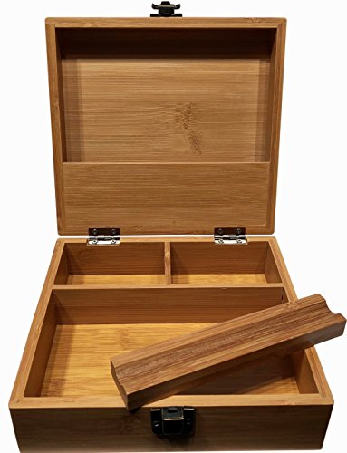 Stash Box Large with Rolling Tray - 7 x 7 Bamboo Box Three Compartments and Storage Shelf in the lid Discrete Wooden Boxes with Latch (Plain Box) (Wooden Box)