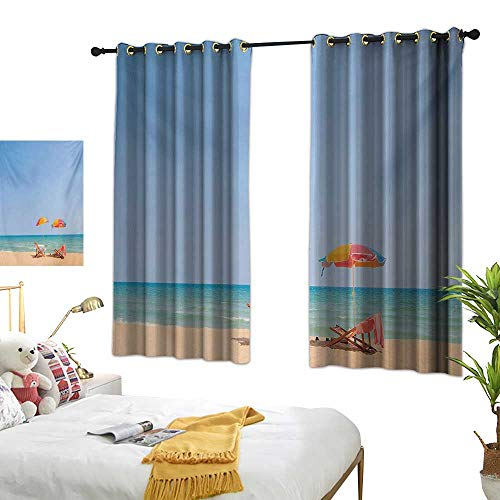 MartinDecor Seaside Drapes for Living Room Beach Chair Umbrella on The Beach Leisure Time Tourist Attractions Photo Print W55 x L63,Suitable for Bedroom Living Room Study, etc.