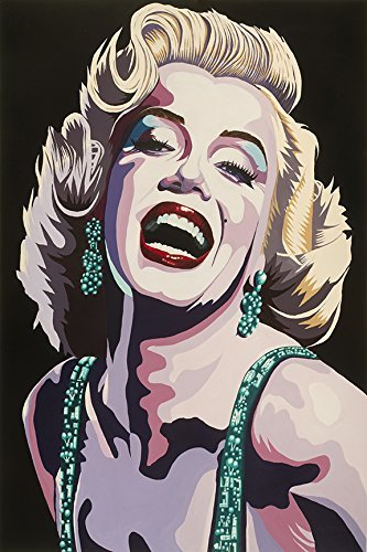 Dazzling Marilyn by Karl Black 36x24 Art Print Poster Wall Decor Marilyn Monroe Vintage Poster City Hollywood Collectable Memorabilia Glam Glitter Glitz Red Lipstick Marilyn Monroe Smiling - Marilyn Monroe Red Lipstick