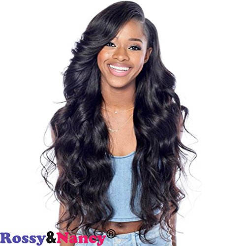 Rossy&Nancy Brazilian Virgin Remy Hair Human Hair 130% Density Body Wave Natural Black Color Glueless Lace Front Wigs with Baby Hair for Black Women by Rossy&Nancy