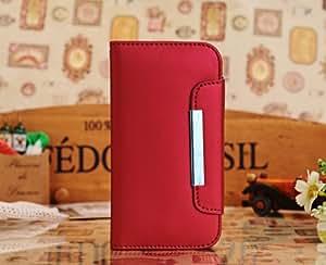 Imitaci?n cuero Flip Case de cartera con la ranura de la tarjeta de cr?dito/ID para Samsung Galaxy SIV S4 i9500 - rojo