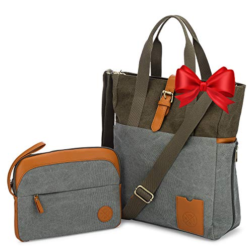 LAPTOP BAG for Women with Crossbody Strap and matching Small Purse - Large Canvas Tote Bag for Women - Work Bags for Women with Multiple Compartments - Perfect Travel Tote for Work or Daily Commute ()
