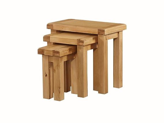 Newport de Roble Macizo Nido de 3 mesas - Roble Nesting Tables ...