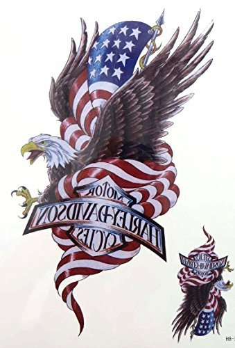 "American flag eagle 8.25"" large temporary arm tattoo for sale  Delivered anywhere in USA"