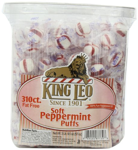 King Leo Peppermint Puffs - King Leo Soft Peppermint Puffs 310 Count Fat Free 3 Pound 9.5 Ounce