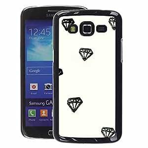 A-type Arte & diseño plástico duro Fundas Cover Cubre Hard Case Cover para Samsung Galaxy Grand 2 (Diamond Watercolor Drawing Minimalist)