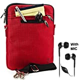 RED Mighty Nylon Jacket Slim Compact Protective Sleeve Shoulder Bag Case with accessories compartment for HP TouchPad Tablet 9.7'' webOS ( 32 GB 16 GB 32GB 16GB 1.2GHz IPS Wifi Wi-Fi Bluetooth Computer )+ Includes a eBigValue (TM) Determination Hand Strap