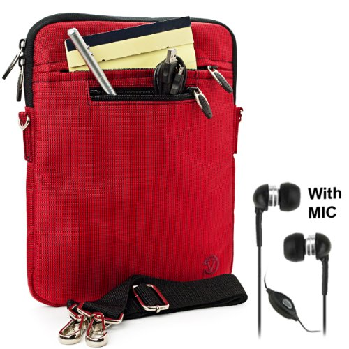RED Mighty Nylon Jacket Slim Compact Protective Sleeve Shoulder Bag Case with accessories For Motorola XOOM Android Tablet (Compatible with All Versions of 10 inch Xoom Devices) High Performance with Keyboard + Includes a Crystal Clear HD Noise Filter Handsfree (Motorola Usb Mic)