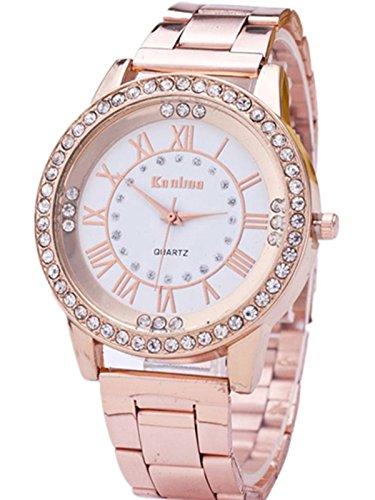 FEITONG Damenuhr Luxus Uhr Künstlich Kristallrhinestone Edelstahl Band Analoge Quarz Armbanduhr Rose Gold