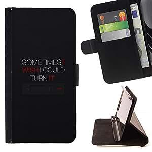 Momo Phone Case / Flip Funda de Cuero Case Cover - Apagar Cita de la música de dispositivos Botón Tecnología - HTC One Mini 2 M8 MINI