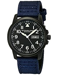 Stuhrling Original Men's 850.03 Aviator Quartz Day and Date Blue Strap Watch