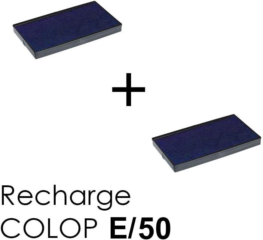 2 St/ück Tintenkassetten E//50 Nachf/üllpack f/ür Stempel Colop Printer 50 Schwarz
