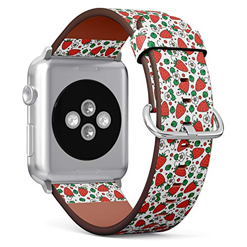 [ Compatible Big Apple Watch 42mm / 44 mm ] Replacement Leather Band Bracelet Strap Wristband Accessory // Red Strawberries On ()