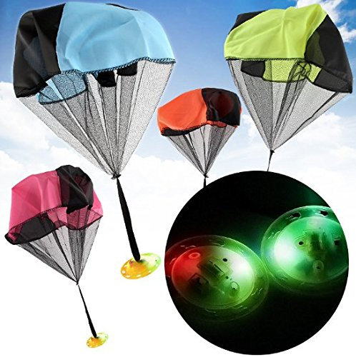 UChic 1PCS Mini Play UFO Parachute Toys Light Flash Hand Throwing Speed Running Soldier Outdoor Sports Children Kids Games Color Random -