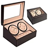 TONGROU Brown Watch Winder Storage Display Case Box 4+6 Automatic Rotate Leather Wooden