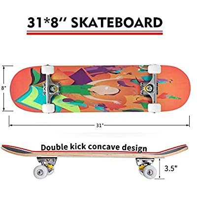 Classic Concave Skateboard Boy Appearing from a Book Concept of Reading Books Being an Adventure Longboard Maple Deck Extreme Sports and Outdoors Double Kick Trick for Beginners and Professionals : Sports & Outdoors
