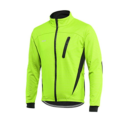 - ARSUXEO Winter Warm UP Thermal Fleece Cycling Jacket Windproof Waterproof Breathalbe 16H Green Size Large