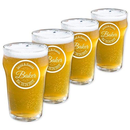 Personalized Pub Beer Glass, Customized English Pub Glass, Set of 4 Housewarming Gifts, Wedding Favors, (Pub 10oz.)