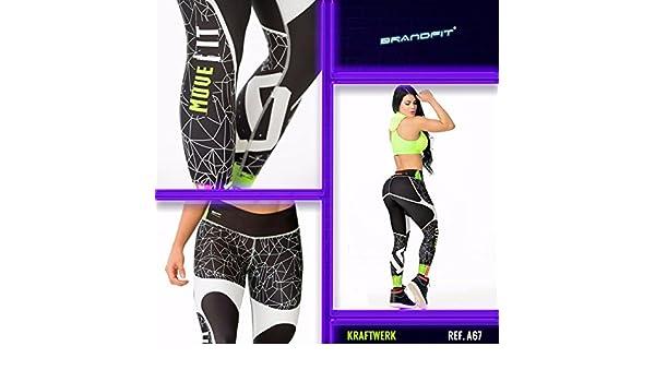 BRANDFIT - NEON Y TATOO - KRAFTWERK - Mallas deportivas mujer, ideal para Yoga, Running, Fitness, Pilates. Leggins elásticos. Talla única diseñadas para ...