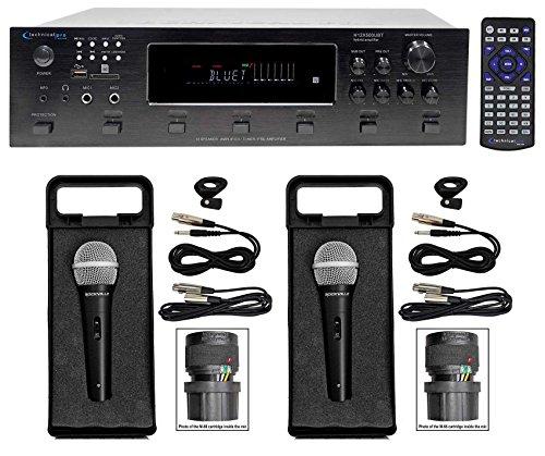 Technical Pro 6000 Watt Bluetooth Karaoke Amplifier Receiver w/ USB, SD+(2) Mics