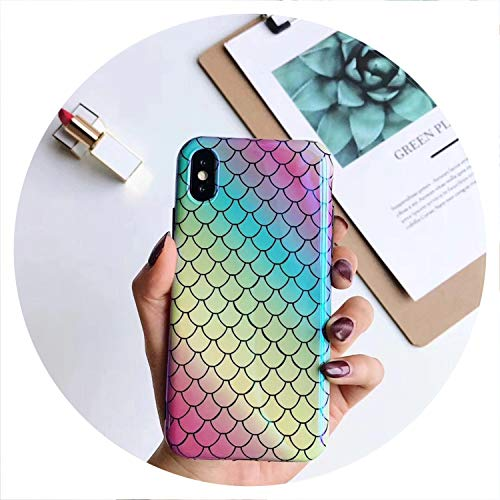 - Luxury Blue Light Glossy Fish Scale Phone Case for iPhone X 10 Case Soft Silicone Cover for iPhone 7 8 Plus 6 6S XS Max XR Coque,Colorful,for iPhone X