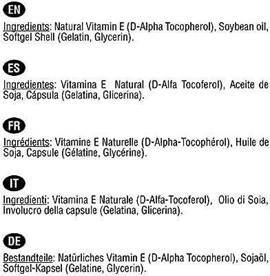 Vitamina E Natural 400 UI | 200 perlas, (Más de 6 meses de ...