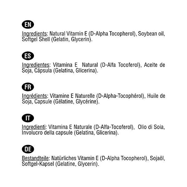 Vitamine E Naturelle 400 UI (D-Alpha Tocophérol)   200 capsules (plus de 6 mois de traitement)   Protège vos cellules…