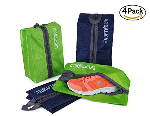 Portable Travel & Gym Shoe Bags Set of 4 Waterproof Nylon With for Zipper Men & Women