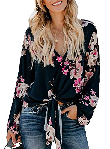 Tiksawon Women's V Neck Tie Knot Front Boho Peasant Blouses and Tops Long Sleeve Floral Shirts Rose XL