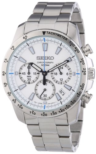Seiko SSB025 men's Chronograph stainless Steel Case Watch