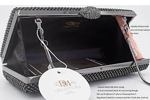 Clutch Evening Dexmay Bag Crystal Party Pewter Rhinestone Prom For Women Large Cocktail Purse Unnptq