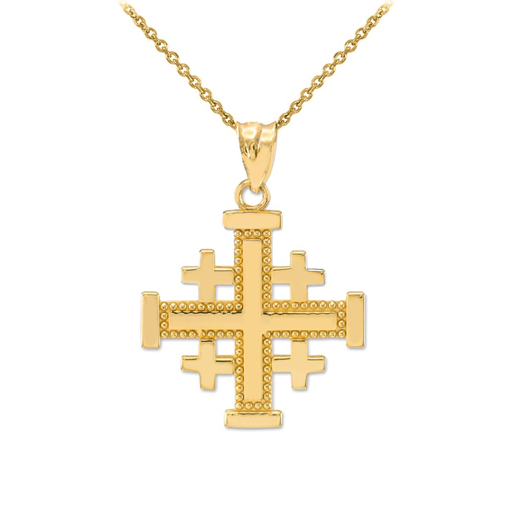 Polished 14k Yellow Gold Crusaders Jerusalem Cross Pendant Necklace, 18''
