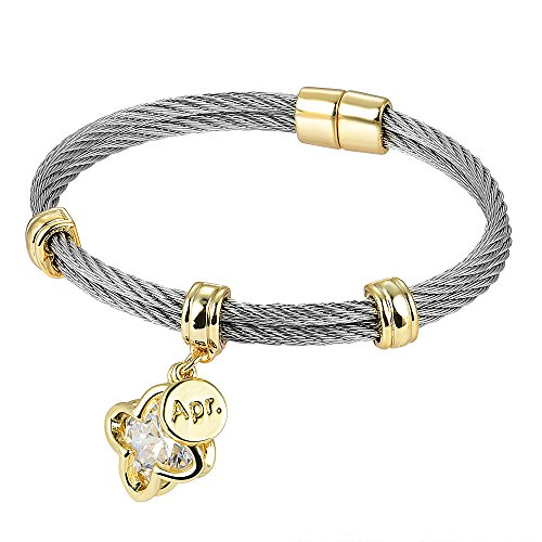 BIJOUX BOBBI [Luxury Packaging] Premier Birthstones Beautiful Twisted Cable Bangles - April - A4996BKC