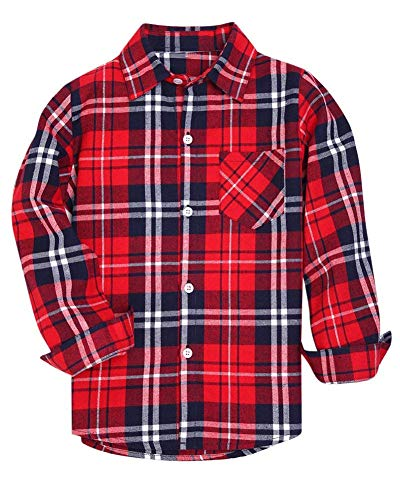 (Kids Long Sleeves Button Down Flannel Cotton Plaid Shirt Tops for Big Boys, Red, 10-11 Years = Tag 170 )