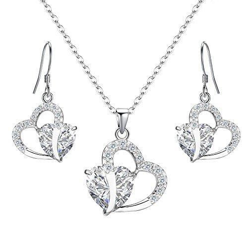 925 Silver Rhinestone Pendant Necklace Silver - 4