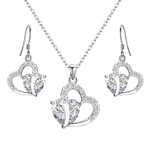 EleQueen 925 Sterling Silver Full Cubic Zirconia A Heart Full of Eternal Love Bridal Pendant Necklace Hook Earrings ()