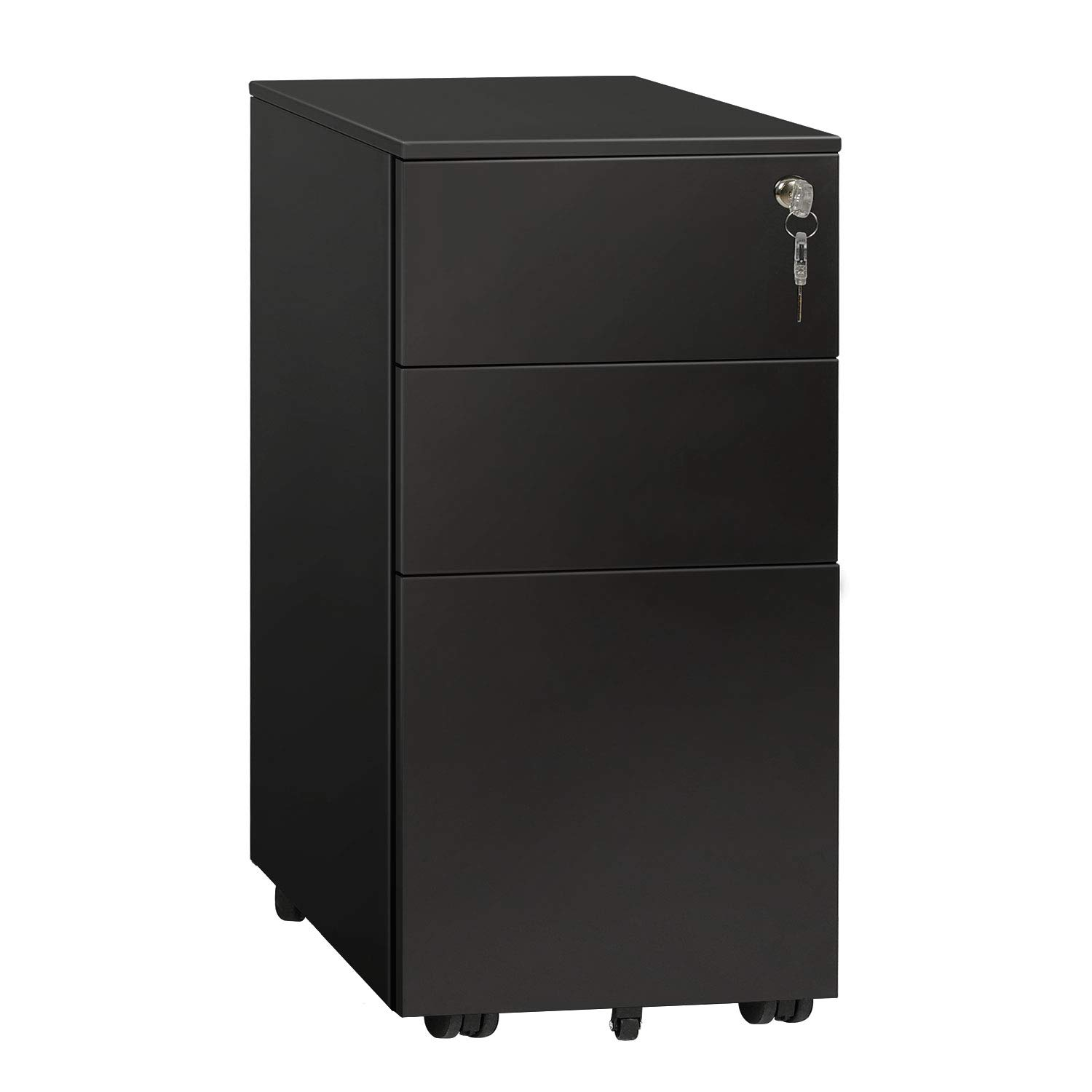 DEVAISE Locking File Cabinet, 3 Drawer Rolling Metal Filing Cabinet, Fully Assembled Except Wheels, Black by DEVAISE