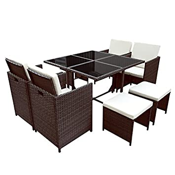 rattan essgruppe braun. Black Bedroom Furniture Sets. Home Design Ideas