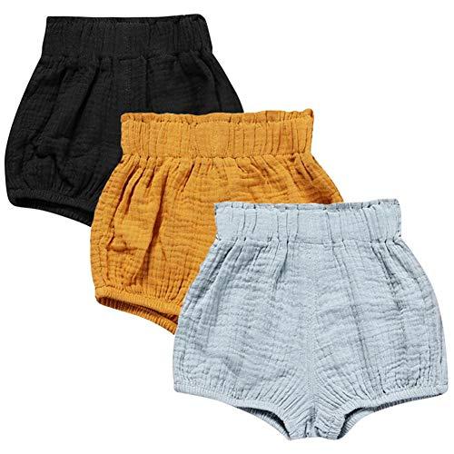LOOLY Unisex Baby Girls Boys 3 Pack Cotton Linen Blend Bloomer Shorts (90 (1-2T), Black, Yellow, Blue) ()