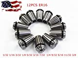 New 12Pcs ER16 Spring Collet Set For CNC Milling Lathe Tool Engraving Machine - High Grade 1065 Carbon Steel Durable - Professional fit - US