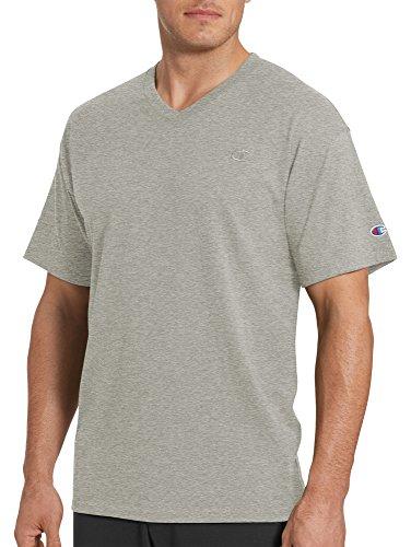 Champion Men's Classic Jersey V-Neck T-Shirt, Oxford Gray, (Mesh V-neck Sport Shirt)