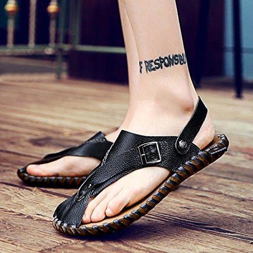 Correas La Hombre Dos Correa Zapatos Ligero LXXAMens De Playa Flops Cuero Verano Zapatilla Usos Flip Peso De Black Sandalias Real wZExEYSqp