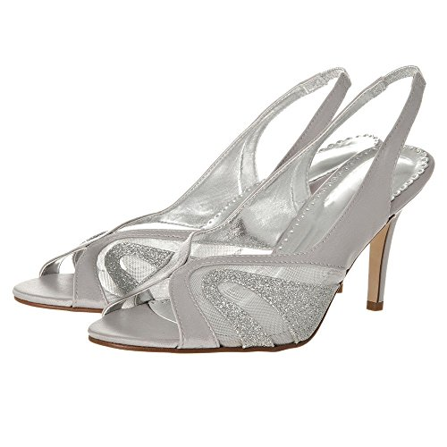 silver SlingBack Taille M Bout avec ouvert talons boucle gx0vZqFw4