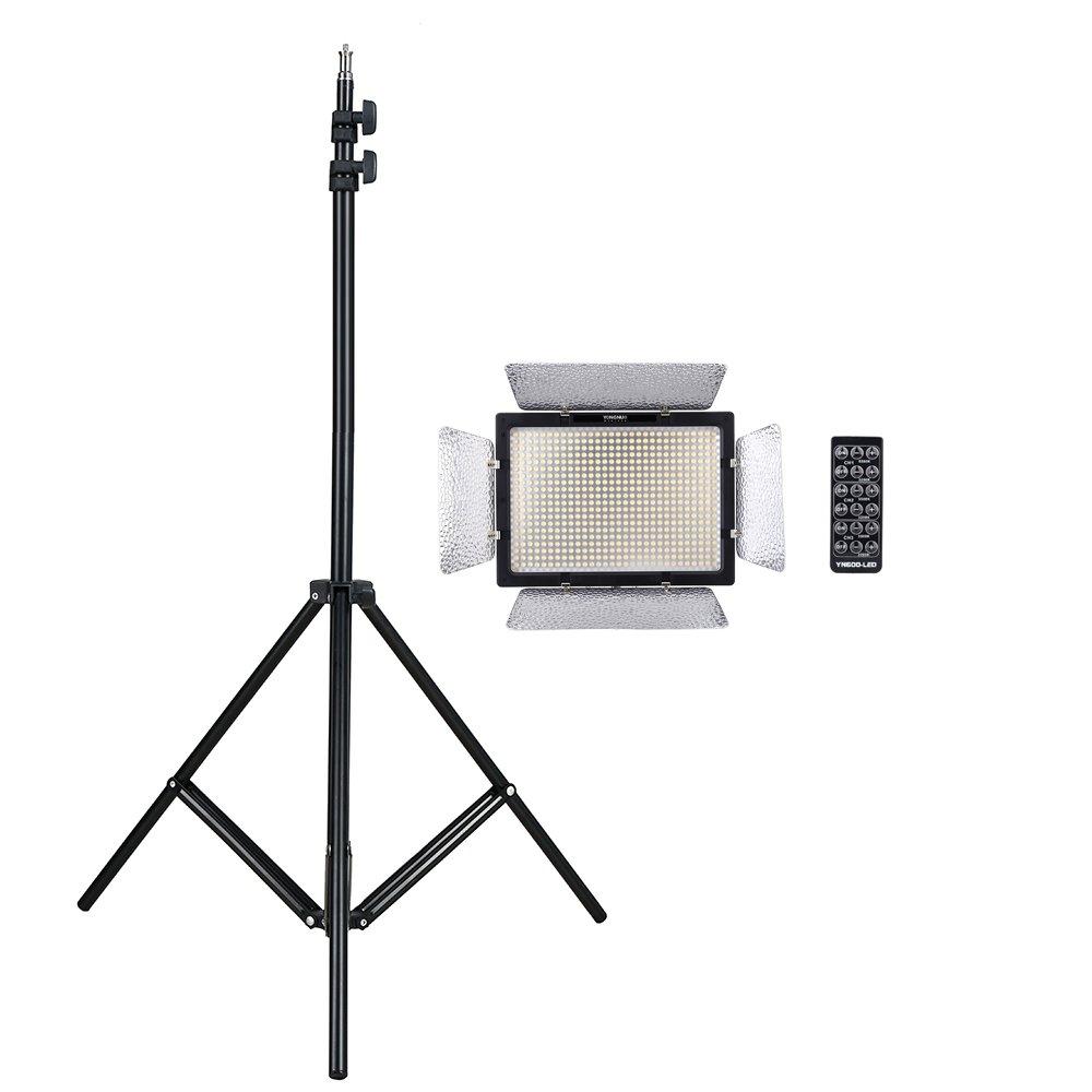 Yongnuo 600 LEDビデオライト 600球のLEDを搭載  AC電源アダプター付き + アルミ製 ライトスタンド  撮影スタンド  三脚マルチスタンド 3段階調節可能 1/4