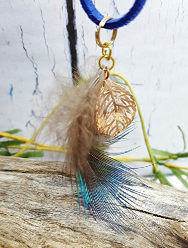 Rose Gold & Royal Blue Feather Necklace ~ 11th Anniversary Gift For...