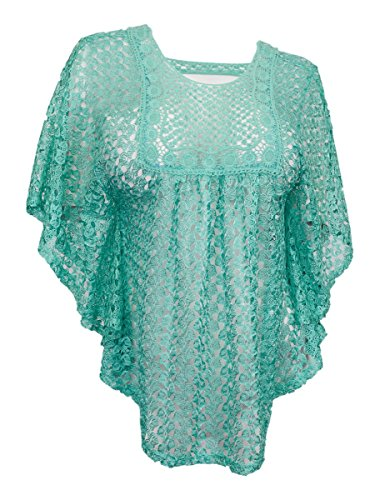 ff5193c09 eVogues Plus Size Sheer Crochet Poncho Top Mint - 1X - Buy Online in ...